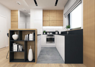 Wizualizacja kuchni połączonej z salonem w segmencie narożnym.