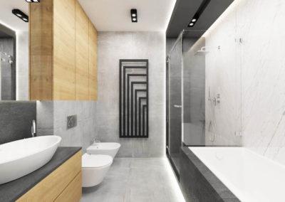 Wizualizacja łazienki segmentu narożnego.