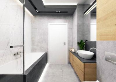 Wizualizacja łazienki segmentu narożnego