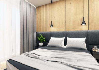 Wizualizacja sypialni segmentu narożnego.