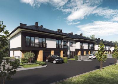 Wizualizacja eleganckiego szeregu budynków w nowej inwestycji Home Premium przy ulicy Szkolnej.