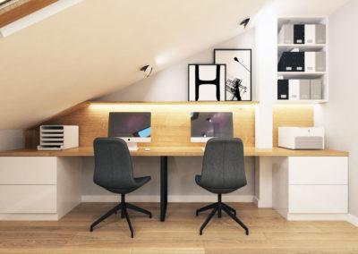 Wizualizacja poddasza segmentu środkowego - miejsce do pracy