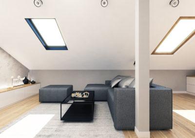 Wizualizacja poddasza segmentu środkowego - połać dachowa